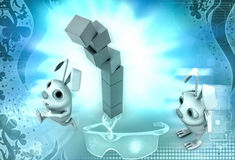 3d rabbit stack of cubes illustration Royalty Free Stock Image