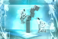 3d rabbit stack of cubes illustration Stock Images