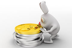 3d rabbit with stack of golden dollar coins concept Royalty Free Stock Photography