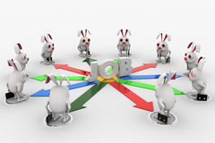 3d rabbit stand on many arrows represent job option concept Stock Images