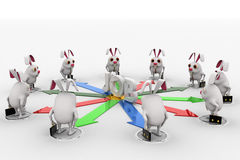 3d rabbit stand on many arrows represent job option concept Stock Image