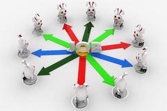 3d rabbit stand on many arrows represent job option concept Royalty Free Stock Image