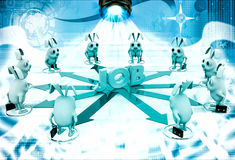 3d rabbit stand on many arrows represent job option illustration Royalty Free Stock Images