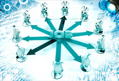 3d rabbit stand on many arrows represent job option illustration Royalty Free Stock Image