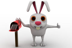 3d rabbit standing aside post mail box concept Royalty Free Stock Image