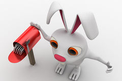 3d rabbit standing aside post mail box concept Royalty Free Stock Images