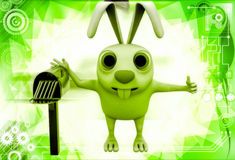 3d rabbit standing aside post mail box illustration Royalty Free Stock Photos