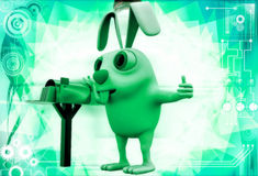 3d rabbit standing aside post mail box illustration Stock Images