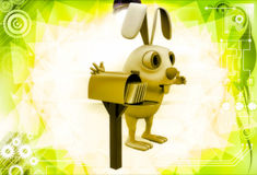3d rabbit standing aside post mail box illustration Royalty Free Stock Image