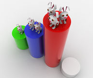 3d rabbit standing on bar graph concept Stock Images