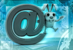 3d rabbit standing on big email icon illustration Royalty Free Stock Photo
