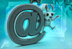 3d rabbit standing on big email icon illustration Royalty Free Stock Images