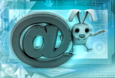 3d rabbit standing on big email icon illustration Royalty Free Stock Photos