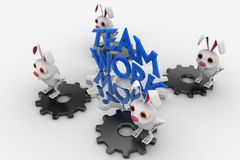 3d rabbit standing on cog wheel with team rk text in blue concept Stock Images