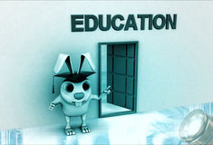 3d rabbit standing at door with education banner illustration Royalty Free Stock Photos