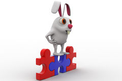 3d rabbit standing on red and blue puzzle concept Royalty Free Stock Photo