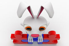 3d rabbit standing on red and blue puzzle concept Stock Image