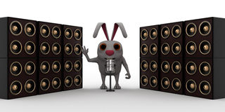 3d rabbit standing in between speakers Stock Photo