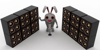 3d rabbit standing in between speakers Royalty Free Stock Photo
