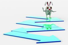 3d rabbit standing and walking on path made by arrow concept Royalty Free Stock Photo