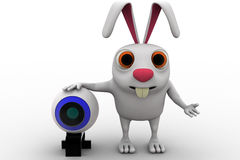 3d rabbit standing with webcam concept Royalty Free Stock Photos