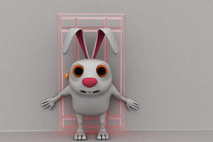 3d rabbit stop others to go inside concept Royalty Free Stock Photo