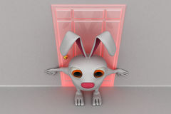 3d rabbit stop others to go inside concept Royalty Free Stock Image