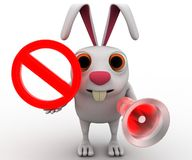 3d rabbit with stop symbol and speaker concept Royalty Free Stock Image