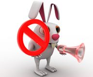 3d rabbit with stop symbol and speaker concept Royalty Free Stock Photo