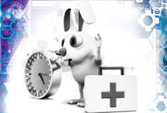 3d rabbit with stop watch and first aid illustration Royalty Free Stock Photo