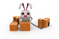 3d rabbit storage concept Royalty Free Stock Photo