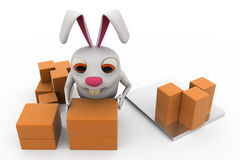 3d rabbit storage concept Stock Photography
