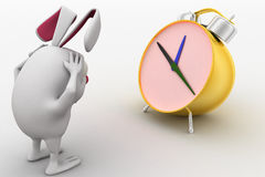 3d rabbit in stress while looking at alarm clock concept Stock Photography