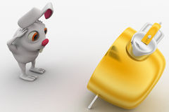 3d rabbit in stress while looking at alarm clock concept Stock Images