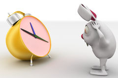 3d rabbit in stress while looking at alarm clock concept Royalty Free Stock Image
