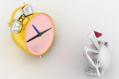 3d rabbit in stress while looking at alarm clock concept Royalty Free Stock Photography