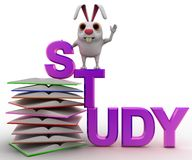 3d rabbit on study text and pile of books concept Royalty Free Stock Photo