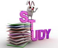 3d rabbit on study text and pile of books concept Stock Photo