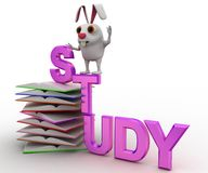 3d rabbit on study text and pile of books concept Stock Image