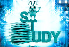 3d rabbit on study text and pile of books illustration Stock Images