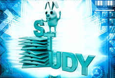 3d rabbit on study text and pile of books illustration Stock Photos