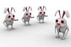 3d rabbit support leader rabbit to go ahead concept Royalty Free Stock Image