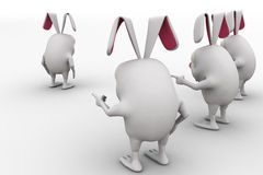 3d rabbit support leader rabbit to go ahead concept Stock Photos