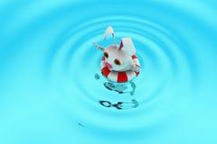 3d rabbit swimming concept Stock Photos