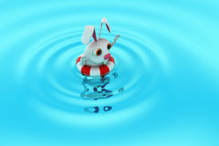 3d rabbit swimming concept Royalty Free Stock Photo