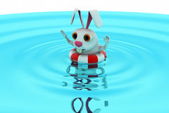 3d rabbit swimming concept Stock Images
