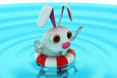 3d rabbit swimming concept Royalty Free Stock Photos