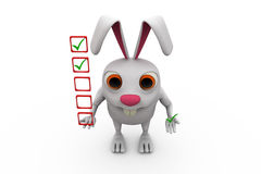 3d rabbit with task list concept Royalty Free Stock Photography