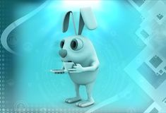 3d rabbit with tea cup and soccer illustration Stock Images