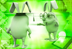 3d rabbit teacher giving advice to graduate student illustration Royalty Free Stock Images